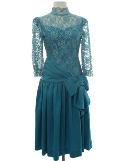 1980's Womens Totally 80s Teal Prom Or Cocktail Dress