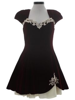 1980's Womens Velvet Mini Prom Or Cocktail Sweatheart Dress