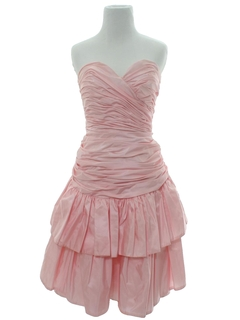 1980's Womens Designer Pretty In Pink Prom Or Cocktail Dress