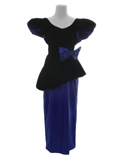 1980's Womens Totally 80s Velvet Asymmetrical Prom Or Cocktail Dress