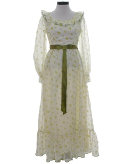1960's Womens Prairie Hippie Style Prom Or Cocktail Dress
