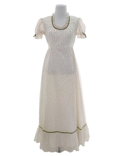1960's Womens Prairie Style Prom Or Cocktail Maxi Dress