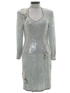 1980's Womens Totally 80s Sequined Cocktail Dress