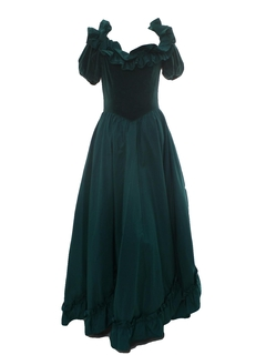 1980's Womens Princess Style Totally 80s Velvet Prom Or Cocktail Maxi Dress