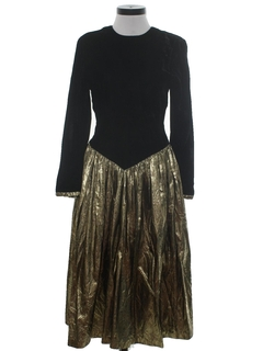 1980's Womens Designer Velvet Cocktail Maxi Dress