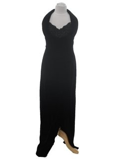 1980's Womens Prom Or Cocktail Velvet Halter Maxi Dress