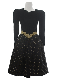 1980's Womens Princess Style Velvet Prom Or Cocktail Dress