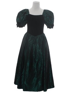 1980's Womens Princess Style Totally 80s Velvet Prom Cocktail Maxi Dress