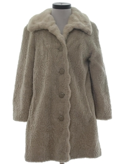 1960's Womens Mini Fake Fur Coat Jacket