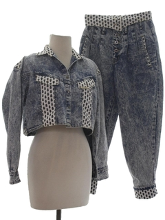 1980's Womens Totally 80s Acid Washed Denim Pantsuit