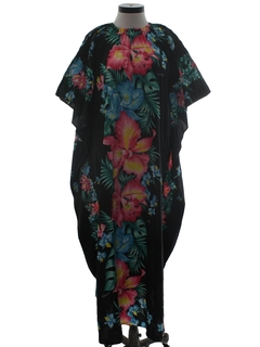 1970's Womens Hawaiian Caftan Maxi Dress