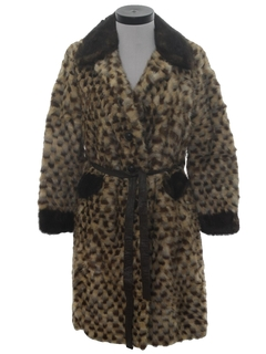 1960's Womens Mod A-line Fur Coat Jacket