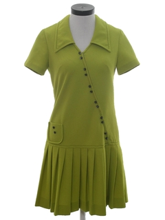 1960's Womens Mod Mini A-line Knit Dress