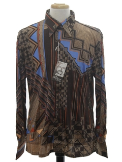 1970's Mens Designer Shiny Nylon Abstract Geometric Print Disco Shirt*