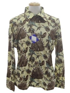 1970's Mens Designer Shiny Nylon Bird Art Print Disco Shirt*