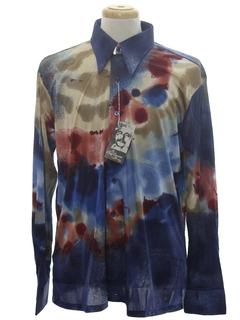 1970's Mens Designer Shiny Nylon Abstract Art Print Disco Shirt*