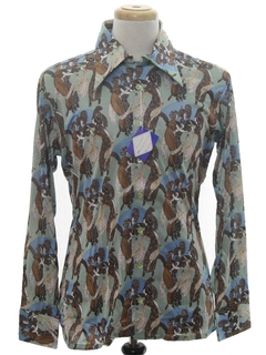 1970's Mens Shiny Nylon Print Disco Shirt*