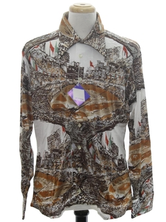 1970's Mens Designer Shiny Nylon Baseball Print Disco Shirt*