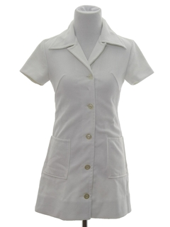 1970's Womens Mini Knit Nurses Dress