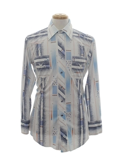 1970's Mens Western Print Disco Shirt