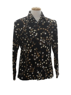 1970's Mens Designer Abstract Print Disco Shirt