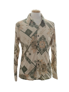 1970's Mens Geometric Print Disco Shirt