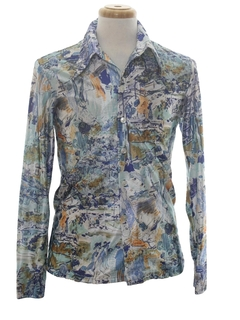 1970's Mens Shiny Nylon Abstract Art Print Disco Shirt