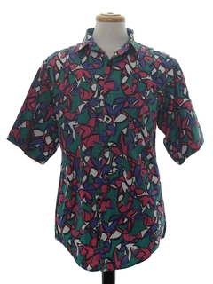 1990's Mens Totally 80s Print Shirt