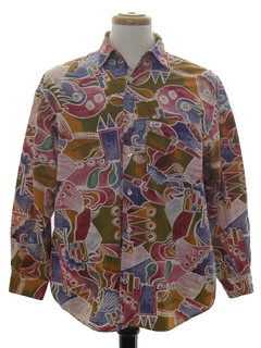 1980's Mens Designer Totally 80s Graphic Print Shirt
