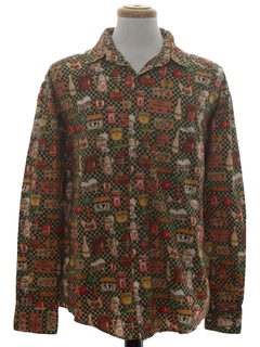 1980's Mens Graphic Print Shirt