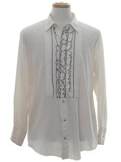 1980's Mens Western Style Ruffled Tuxedo Shirt