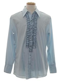 1970's Mens Western Style Ruffled Tuxedo Shirt