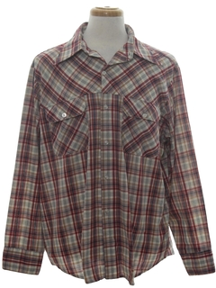 1970's Mens Plaid Work Shirt