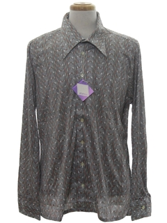 1970's Mens Designer Shiny Nylon Geometric Print Disco Shirt*