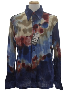 1970's Mens Designer Shiny Nylon Abstract Print Disco Shirt*