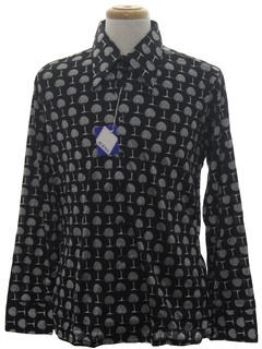 1970's Mens Designer Shiny Nylon Op-Art Print Disco Shirt*