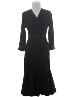 1950's Womens Fab Fifties Little Black Cocktail Wiggle Dress*