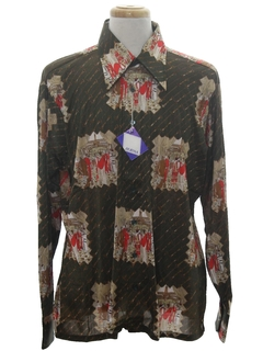 1970's Mens Designer Shiny Nylon Art Print Disco Shirt*