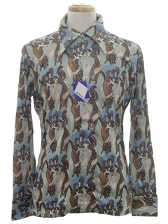 1970's Mens Shiny Nylon Art Print Disco Shirt*