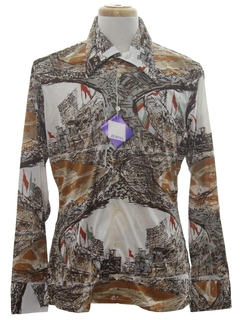1970's Mens Designer Shiny Nylon Baseball Art Print Disco Shirt*