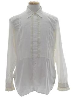 1960's Mens Ruffled Tuxedo Shirt