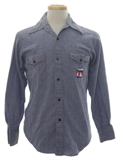1970's Mens Chambray Embroidered Western Hippie Shirt