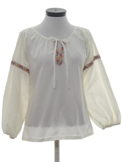 1970's Womens Embroidered Hippie Poet Shirt