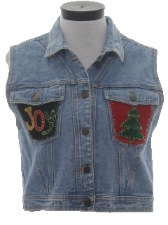 1990's Womens Ugly Christmas Denim Vest