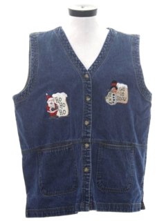 1990's Unisex Denim Ugly Christmas Vest