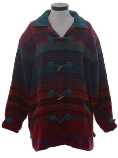 1980's Womens Southwestern Style Wool Coat Jacket