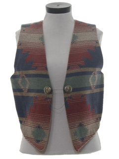 1980's Womens Equestrian Style Southwestern Vest