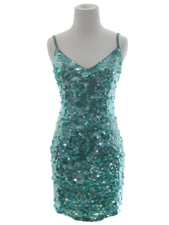 1980's Womens Totally 80s Sequined Wiggle Cocktail Mini Dress