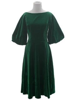 1950's Womens Velvet Prom Or Cocktail Dress