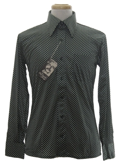 1970's Mens Designer Shiny Nylon Polka Dot Print Disco Shirt*